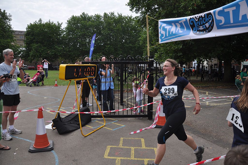 Happy runner at the finish line